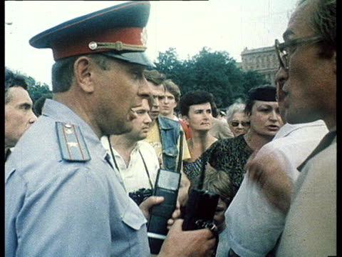 Democrat demonstrations first 'perestroika' meetings in Moscow Pushkin's square Gorky street police force camera crew and photographers amongst angry...