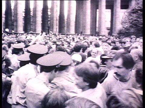 Democrat demonstrations first 'perestroika' meetings Police intervention Demonstration in St Petersburg / Leningrad people arrested