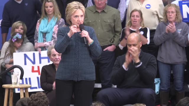 US Democrat presidential candidate Hillary Clinton speaks to voters in Concord NH about Obamacare and her views on Planned Parenthood and LGBT issues