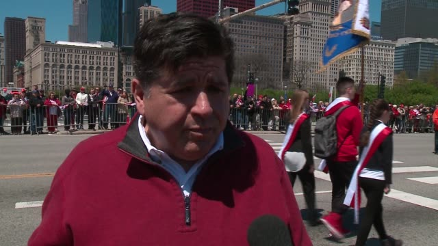 WGN Democratic Governor Candidate JB Pritzker Interviewed During the Polish Constitution Day Parade in Chicago About 10000 people lined an...