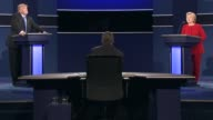 Democratic Party presidential candidate Hillary Clinton and Republican Party presidential candidate Donald Trump deliver closing remarks at the first...