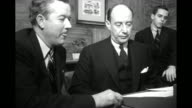 Democratic presidential and vice presidential candidates Gov Adlai Stevenson and Sen John Sparkman in studio with 'NBC' cameras / Gov Thomas E Dewey...