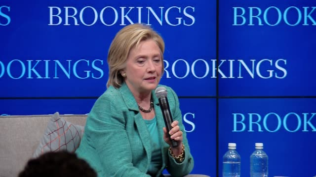 Democratic presidential candidate Hillary Clinton gives a speech at the Brookings Institution on why it's a good idea to support the Iran nuclear...