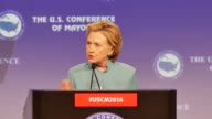 Democratic Presidential Candidate Hillary Clinton speaks to mayors during the 84th US Conference of Mayors conference June 26 2016 in Indianapolis...