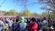 Democratic presidential candidate US Senator Bernie Sanders holds 'A Future To Believe In GOTV' rally concert at Prospect Park Brooklyn on April 17...