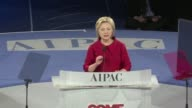 Democratic presidential contender Hillary Clinton spoke at the powerful Jewish lobby AIPAC annual meeting on Monday