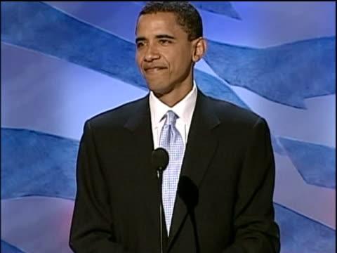 Democratic Senator candidate Barack Obama gets lively reaction at Democratic National Convention