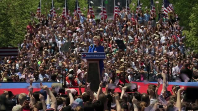Democratic US presidential hopeful and former US Secretary of State Hillary Clinton speaks to supporters during her campaign kickoff rally New York...