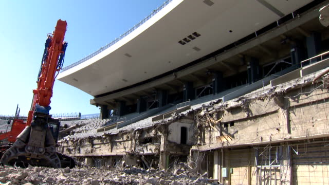 Demolition work is in progress on March 5 2015 at the National Stadium in Tokyo's Shinjuku Ward The stadium will be completely demolished by...