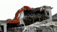 Demolitionof old building at construction site