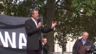 Demonstration against Heathrow Airport expansion in Parliament Square Zac Goldsmith MP onto stage and speaking / John McDonnell and other speakers at...