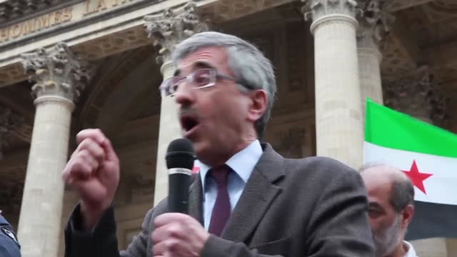 Demonstration on the 6th anniversary of the Syrian revolution in Pantheon Paris on Saturday 18 March 2017 Iranian resistance members and supporters...