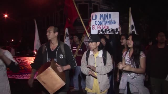Demonstrators gather in Lima to protest against a big Chinese copper mining project in the provinces of Cotabambas and Grau