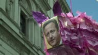 Demonstrators gather outside Downing Street calling for the British Prime Minister to step down in the wake of the Panama Papers revelations which...