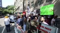 Demonstrators gather to protest Myanmar's oppression towards Rohingya Muslims in Myanmar's Rakhine state next to Myanmar Permanent Mission to the...