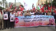Demonstrators march in solidarity with Israeliheld Palestinian prisoners who began a hunger strike last week to protest their prison conditions in...