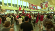 Demonstrators protest in Rio de Janeiro's Central Terminal denouncing government plans to raise the cost of public transport and the excessive...