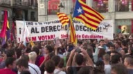 Demonstrators take to the streets in Madrid to support Catalonia's independence referendum after police detained Catalan officials ahead of an...