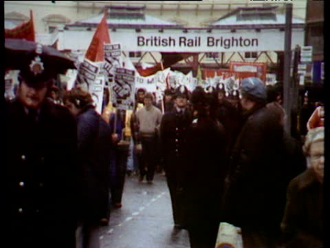 Demonstrators taking part in 'right to work' march gather outside Brighton Conference Centre during Conservative Party conference Brighton 10 Oct 80