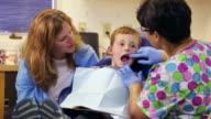Dentist examining patient teeth in dental office