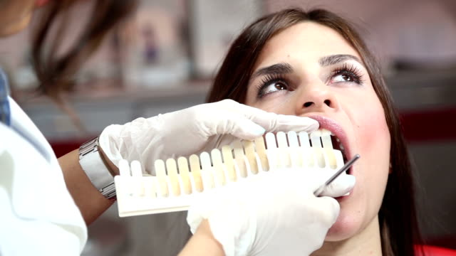 Dentist examining whiteness of patient teeth