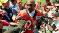 Denver Broncos cornerback Aqib Talib spoke to press after his first practice of the 2016 season at training camp Talib was out of practice because of...
