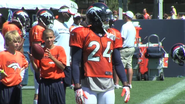 Denver Broncos defense working on drills during training camp Denver Broncos defense at training camp at Denver Broncos practice facility on July 31...