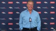 Denver Broncos GM John Elway previewed the 2015 NFL draft at team headquarters saying they have a lot of options with 10 draft choices but moving up...