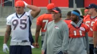 Denver Broncos interim head coach Joe DeCamillas at practice DeCamillis will serve as head coach while Gary Kubiak recovers from a medical condition