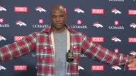 Denver Broncos linebacker DeMarcus Ware at a post practice press conference talks about being the No1 defense in NFL quarterback Brock Osweiler and...