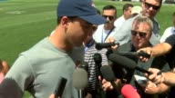 Denver Broncos quarterback Trevor Siemian was interviewed after training camp practice about the competition to be the starting quarterback