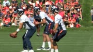 Denver Broncos quarterbacks Mark Sanchez Trevor Siemian and Paxton Lynch at first 2016 training camp practice at the UC Health Training Center