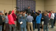 Denver Broncos rookie quarterback Paxton Lynch at a press conference after practice talking about the starting quarterback job and how he has done in...