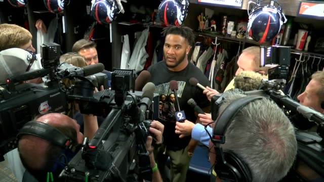 Denver Broncos safety TJ Ward locker room interview before game vs Atlanta Falcons
