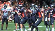Denver Broncos training camp featuring Peyton Manning running backs and receivers Denver Broncos training camp action at Denver Broncos practice...