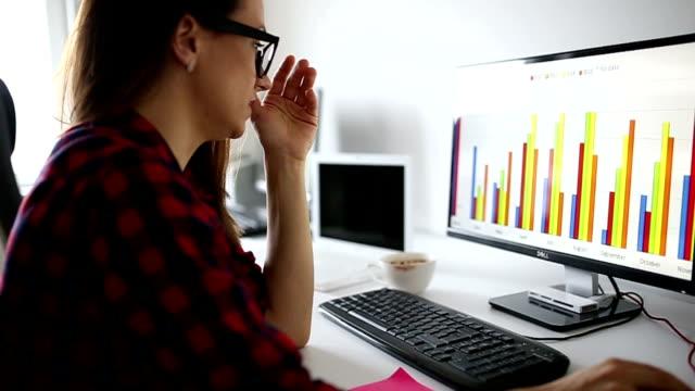 Depressieve jonge vrouw met behulp van computer op kantoor