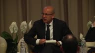 Deputy Prime Minister of Turkey Mehmet Simsek speaks during a panel discussion entitled 'DeRisking Countries Reforms for Growth'  at the spring...