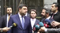 Deputy Speaker of the Turkey's Grand National Assembly Ahmet Aydin accompanies Ukranian Prime Minister Volodymyr Groysman as he visits Grand National...