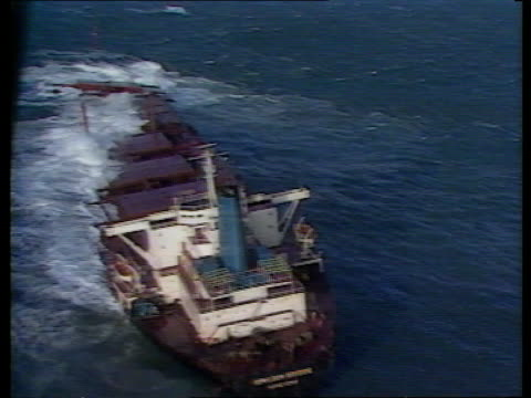 'Derbyshire' ship inquiry Tx231186 ITN EXT / November 1986 A/SEA Wreck of 'Kowloon Bridge' as waves over bow