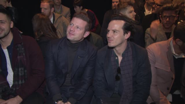 BROLL Dermot O'Leary Andrew Scott at London Collections Men Topman Design A/W 2015 at Old Sorting Office on January 09 2015 in London England