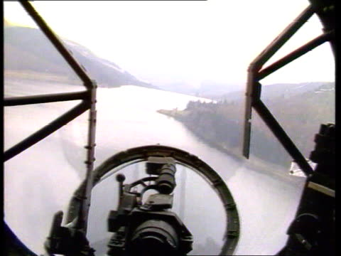Derwent INT AIRCRAFT GV View through bombardier's portal in nose of aircraft TRACK FORWARD GERMANY AIRV Mona dam ENGLAND Derwent G/AIR Lancaster...