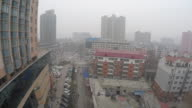 Descending aerial view of a street in Shijiazhuang China