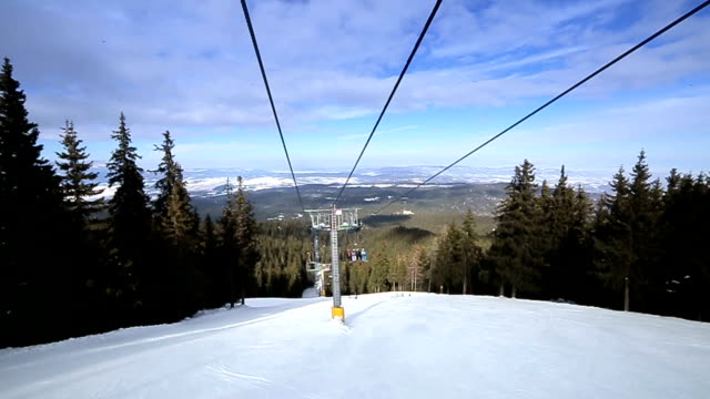 Descending from the top of the mountain,ski lift