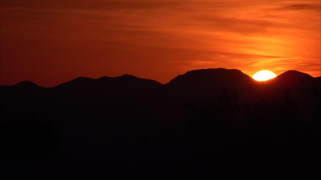 Desert Mountain Sunset Timelapse in Saguaro National Park