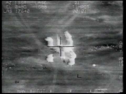 Desert Storm / AERIAL Crosshairs on missile striking building / Kuwait
