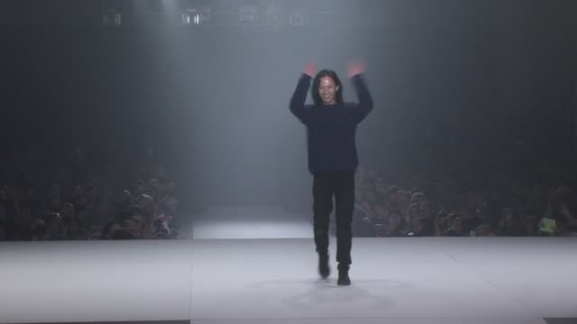Designer Alexander Wang walks the runway after his fashion show CND For Alexander Wang New York Fashion Week Fall/Winter2013 at The Cunard Building...