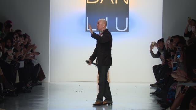 Designer Dan Liu walks the runway at Dan Liu February 2017 New York Fashion Week at Skylight Clarkson Sq on February 10 2017 in New York City