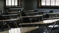 MS Desks and chairs in empty classroom, Buena Vista, Virginia, USA