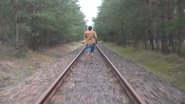 Desperate man escaping from train
