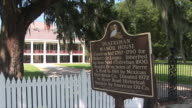 WS Destrehan Plantation and historical sign, New Orleans, Louisiana, USA